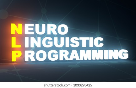 NLP - Neuro Linguistic Programming acronym on dark blue background. Business coaching concept. 3D rendering. Neon bulb illumination