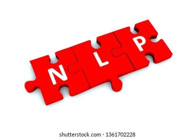 NLP puzzle white background concept 3D illustration