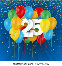 No 25 framed with colorful balloons on dark blue background with confetti