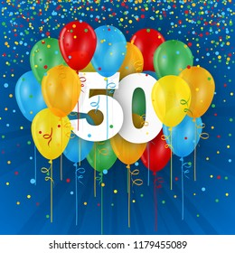 No 50 framed with colorful balloons on dark blue background with confetti