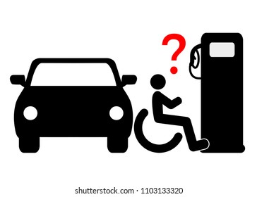 No accessibility at the petrol station. Wheelchair user demand accessibility at the gas pump