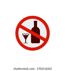 No alcohol drinks icon on white background,prohibits