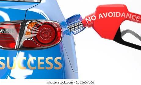 No avoidance, success and happy life - pictured as a fuel pump and a car with success sticker, shows concept that No avoidance brings profits and success in life, 3d illustration