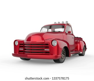 no brand pickup car in a white background will put some fun in yours creations, 3d illustration