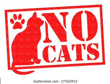 NO CATS red Rubber Stamp/Sign over a white background.