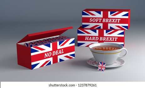 no deal brexit - the British way - concept tea: 3D render