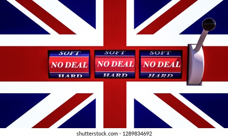 no deal brexit in an English slot machine / concept gambling / Brexit / 3d-illustration