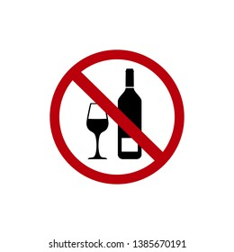 No drinking alcohol or wine with red banned sign and wineglass and bottle flat illustration icon