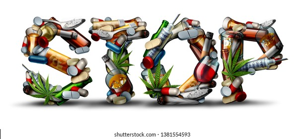 No drug addiction and stop drugs icon as a health issue representing the dangers and risk of smoking drinking alcohol and medicine overdose as opioids as a 3D illustration.