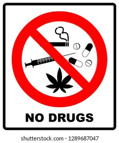 No drugs allowed. No capsule, marijuana, cannabis, tobacco, cocaine and other drugs. Red forbidden symbol.  prohibited illustration isolated on white