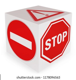 No entry Stop Danger conceptual traffic signs