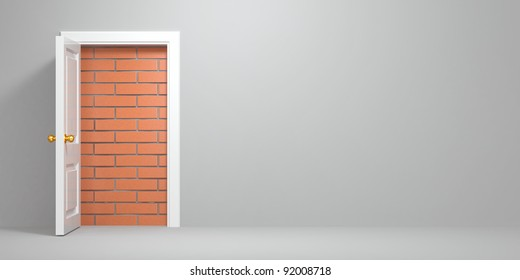 No escape and entrance. Doors laid bricks. 3d
