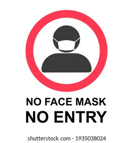 No Face Mask No Entry Policy Sign. Flat Image.