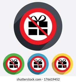 No Gift box sign icon. Present symbol. Red circle prohibition sign. Stop flat symbol.