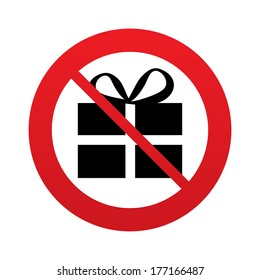 No Gift box sign icon. Present symbol. Red prohibition sign. Stop symbol.