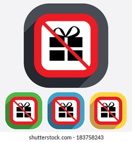 No Gift box sign icon. Present symbol. Red square prohibition sign. Stop flat symbol.