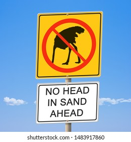 No head in sand ahead ostrich road sign 3d illustration