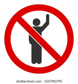 No hitchhike raster icon. Flat No hitchhike pictogram is isolated on a white background.
