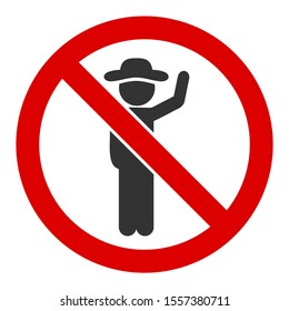 No hitchhiking raster icon. Flat No hitchhiking pictogram is isolated on a white background.