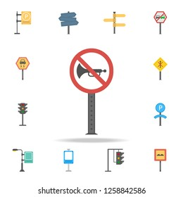 No honking colored icon. Detailed set of color road sign icons. Premium graphic design. One of the collection icons for websites, web design, mobile app