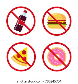 No junk food icons: sugary soda drink, burger, pizza and donut. Crossed prohibition circles on separate layer. Healthy dietary habits illustration.