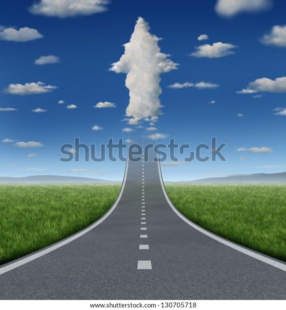 Kein Erfolgskonzept beschränkt sich auf eine Straße oder Autobahn, die in den Himmel hineingleitet, mit einer Wolkengruppe, die als aufsteigender Pfeil als Symbol für finanzielle Freiheit und Ambitionen geformt wurde.