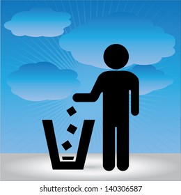 No Littering, Please Use A Trash Can or Please Keep Area Clean Concept Present By No Littering Sign in Blue Sky Background