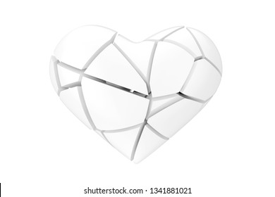No Love Symbol. Broken White Heart in Clay Style on a white background 3d Rendering
