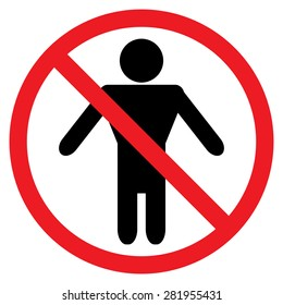 No man Red prohibition sign. Stop symbol