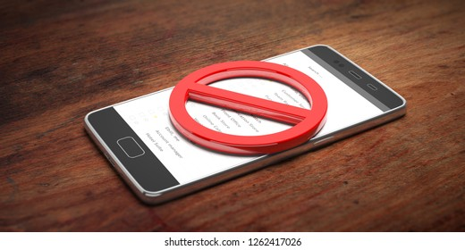 NO MOBILE PHONES USE, no dialing, no texting, crossed out sign. Smartphone in red circle on wooden background. 3d illustration