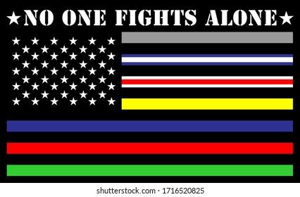nadie lucha solo por los estados unidos de la bandera de las líneas delgadas de Estados Unidos
