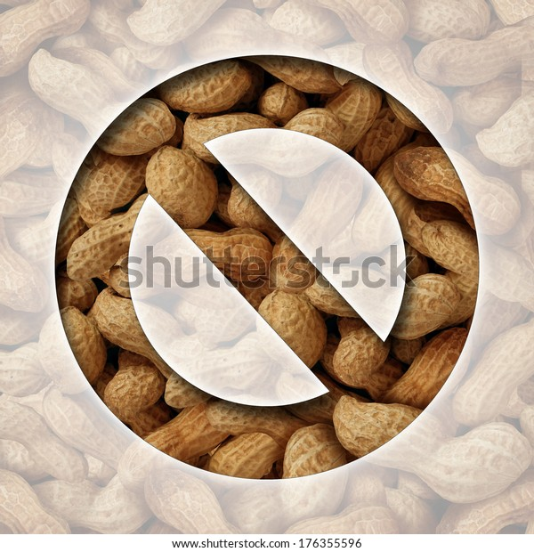 No peanuts and a ban on peanut or nut ingredients for allergy reasons as a food prohibition concept with the natural snack behind a ban icon as a safety symbol of avoiding allergic reaction.