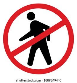 no pedestrian sign illustration on white background