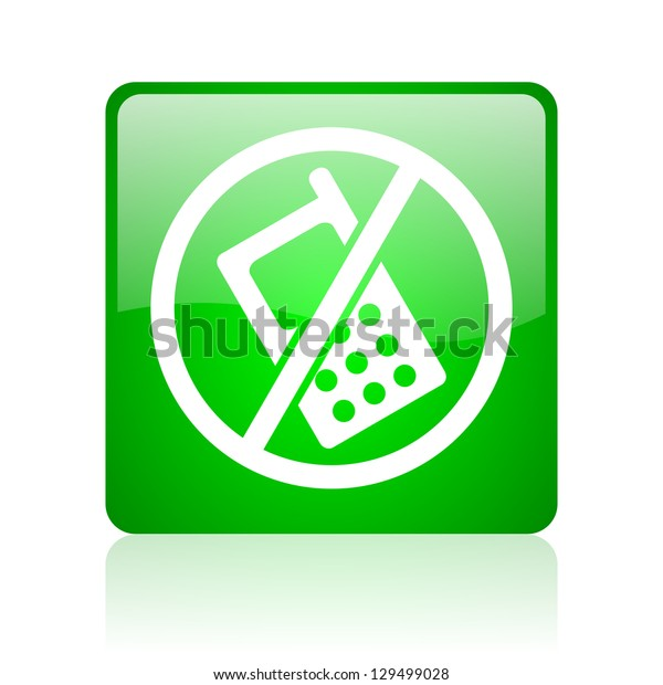 no phones green square web icon on white background