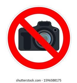 No photo camera shooting forbidden sign, red prohibition symbol