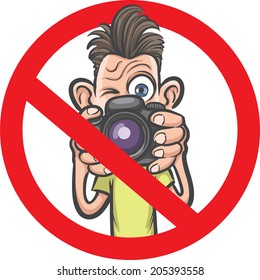 No photography allowed sign with funny cartoon photographer character