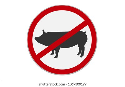 No pork sign. Dietary restriction.