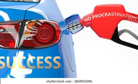 No procrastination, success and happy life - pictured as a fuel pump and a car with success sticker, shows concept that No procrastination brings profits and success in life, 3d illustration