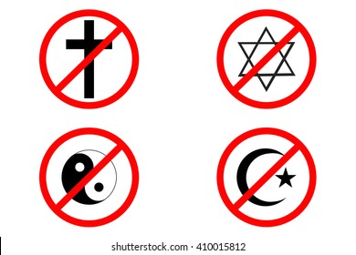 no religion icons in red, black and white