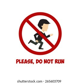 No run sign, flat illustration