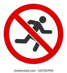 No running raster icon. Flat No running pictogram is isolated on a white background.