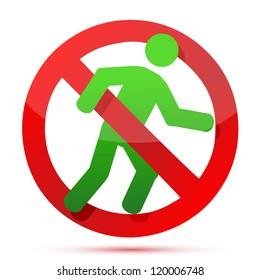 no running sign illustration design over white