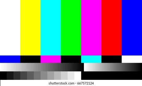 No Signal TV retro television test pattern. Color RGB Bars Illustration.