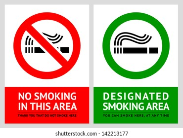 No smoking and Smoking area labels - Set 12. Rasterized versions (copy of the vector)