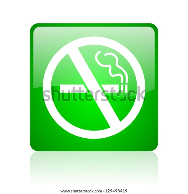 no smoking green square web icon on white background