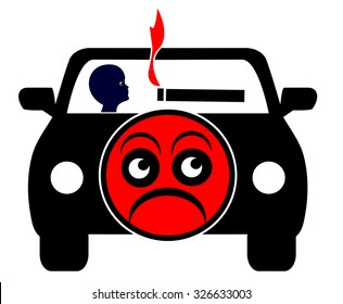 No Smoking with kids in private car. Appeal to stop smoking when traveling with minors due to second hand smoke