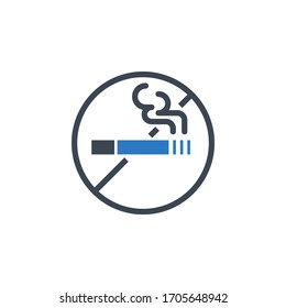 No Smoking related glyph icon. Isolated on white background. illustration.
