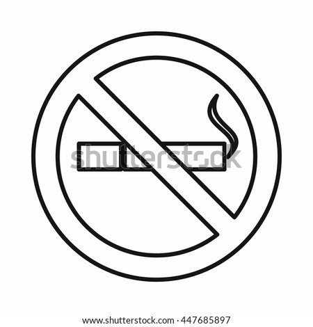 No Smoking Sign Icon Outline Style Stock Illustration