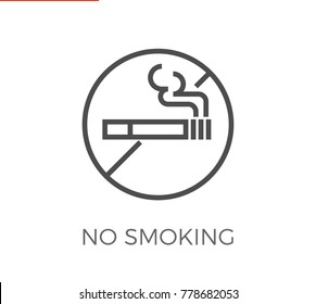 No Smoking Thin Line Icon. Flat Icon Isolated on the White Background.