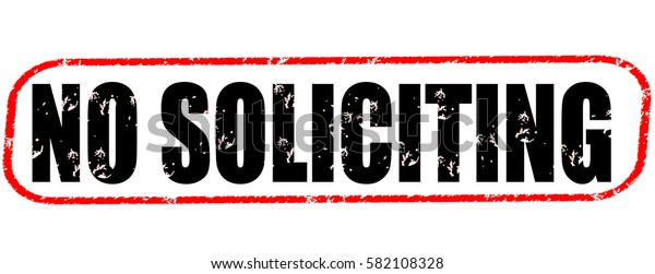 no soliciting red and black stamp on white background.